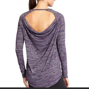 Athleta Open back pose shirt purple space dye